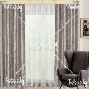 Готовые шторы из блэкаута Афина серая ветка