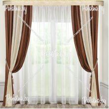 Комплект штор Дуэт — 2.6 коричневый с молочной вставкой