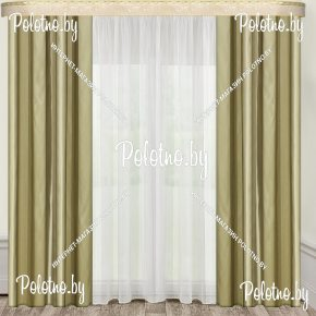 Комплект готовых штор в спальню и гостиную Гранд — 2.6 оливка