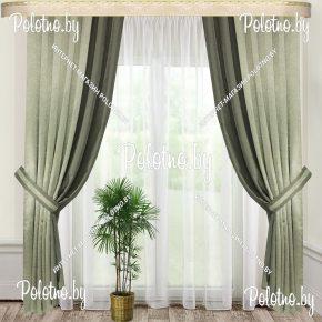Комплект готовых штор в спальню и гостиную Стефани — 2.5 бледно-зеленый