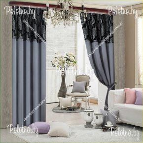 Комплект готовых штор в спальню и гостиную Ажур серого цвета