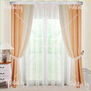 Готовые шторы на высоту 2.5 метра сливочного и оранжевого цвета
