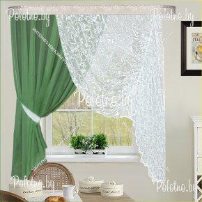 Готовые шторы для кухни Грация зеленый