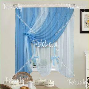 Готовые кухонные шторы Верона цвет синий арт.191С300КВ