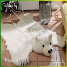 Коврик декоративный меховой Медведь с овечьей шерстью