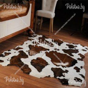 Меховой декоративный ковер теленок темно-коричневый
