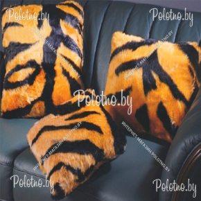 Декоративная диванная подушка из меха тигр