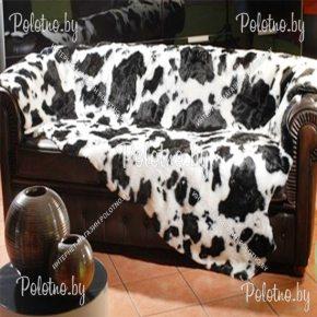 Меховой декоративный ковер теленок черно-белый