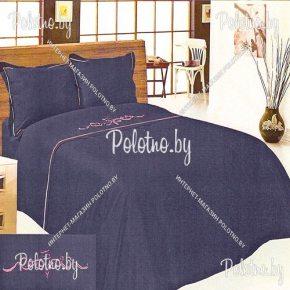 Купите комплект «Винтаж» лен евро размера синий — льняное постельное белье с вышивкой