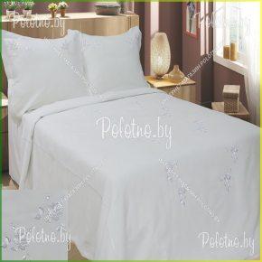 Купите комплект «Свадебный» с вышивкой лен евро размера — льняное постельное белье