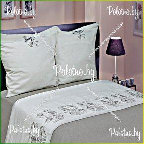 Комплект постельного белья двуспальный размер Травушка-муравушка из льна с вышивкой