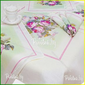 Льняной столовый комплект аромат розы