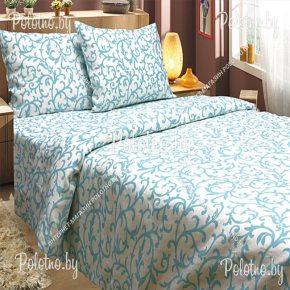Купите комплект «Бирюза» лен евро размера — льняное постельное белье