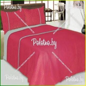 Купите комплект «Мозайка» малиновый лен двуспальный — льняное постельное белье