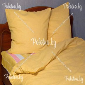 Купите комплект «Квартет» лен двуспальный оранжевый — льняное постельное белье