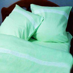Комплект лен полуторный салатовый — льняное постельное белье