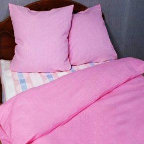 Комплект лен полуторный розовый — льняное постельное белье