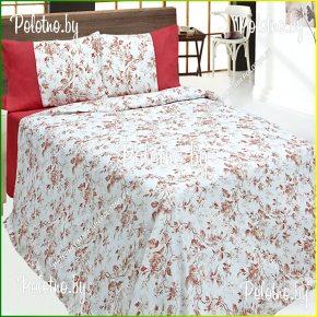 Купите комплект «Розалия» лен евро размера бирюзовый — льняное постельное белье