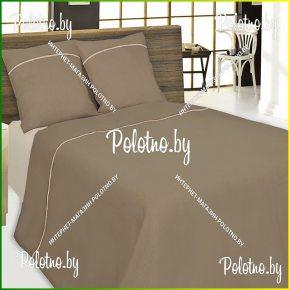 Купите комплект «Мозайка» шоколад лен двуспальный — льняное постельное белье