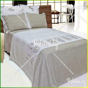 Комплект постельного белья евро размер Травушка-муравушка из льна с вышивкой