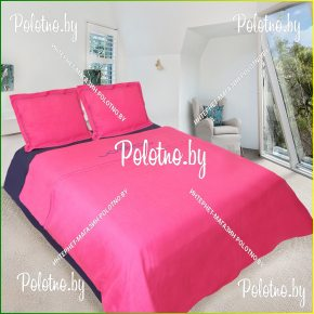 Купите комплект «Винтаж» лен евро размера розовый — льняное постельное белье с вышивкой