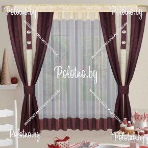 Готовый набор штор на кухню стелла с плотными ночными шторами