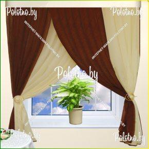 Готовые шторы для кухни тифани коричневый