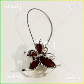 магнит для штор бабочка коричневая