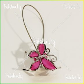 магнит для штор бабочка розовая