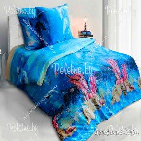 Купите комплект «Дельфины» бязь полуторный 70х70 — бязевое постельное белье