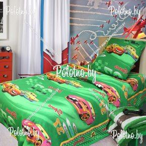 Детский полуторный комплект постельного белья Гонки зеленые