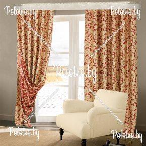 Комплект готовых штор в спальню и гостиную Оптима — 2.7 дубок красный