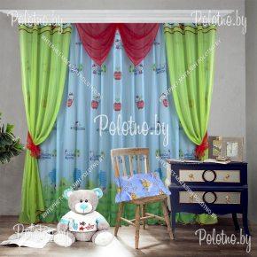 Готовые шторы для детской Hello Kitty салатового цвета