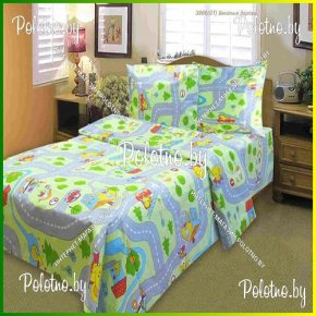 Детский комплект постельного белья веселые дороги в кроватку