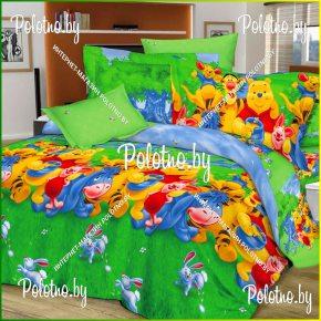Детский полуторный комплект постельного белья Винни пух поплин 3D
