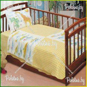 Льняное детское постельное белье Островок в кроватку