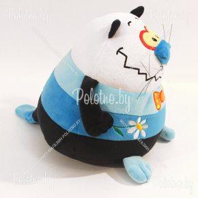 Мягкая игрушка Кот-шарик черно-голубой