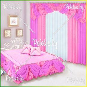 Комплект готовых штор с покрывалом для спальни Фелиция трехсторонний