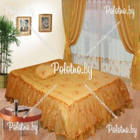 Комплект готовых штор с покрывалом для спальни Сапфир трехсторонний