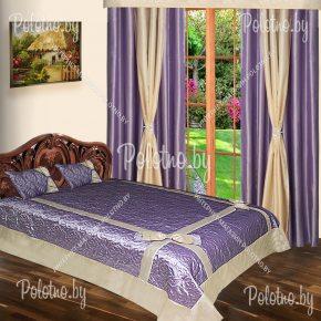 Комплект готовых штор с покрывалом для спальни Модерн лиловый