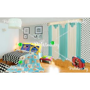 Композиция тюль Дорис+плед Мишки+детские подушки