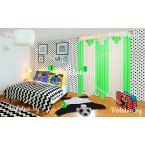 Композиция тюль Дорис+коврик Панда+детские подушки