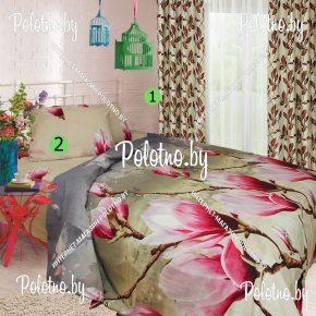 Композиция поплиновое постельное + шторы