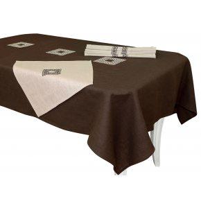 Льняной столовый набор Эллада с вышивкой 143х250