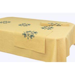 Льняной столовый набор Аделия-2 с вышивкой 143х250