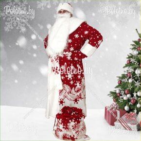 Костюм Деда Мороза бордовый с мешком для подарков