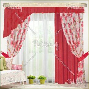 Комплект готовых штор Омега — 2.6 красный
