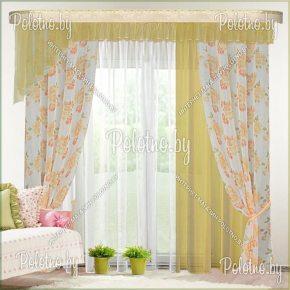Комплект готовых штор Омега — 2.6 желто-оранжевый
