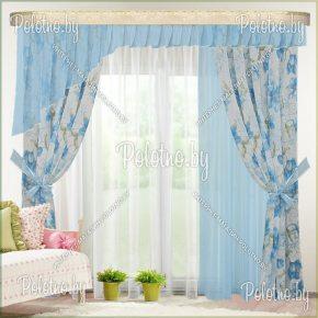 Комплект готовых штор Омега — 2.6 голубой