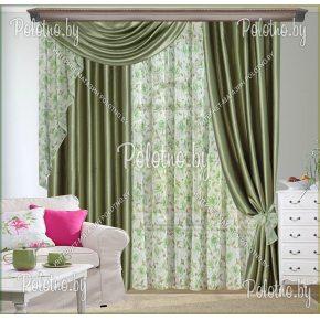 Комплект готовых штор в спальню и гостиную Овация — 2.6 оливковый